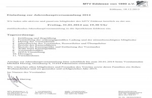 Einladung Jahreshauptversammlung MTV Eddesse 2014